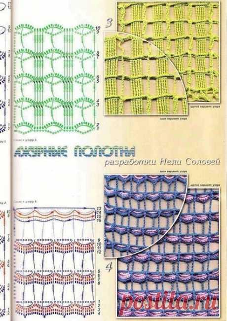 Узоры крючком - ажурные сетки