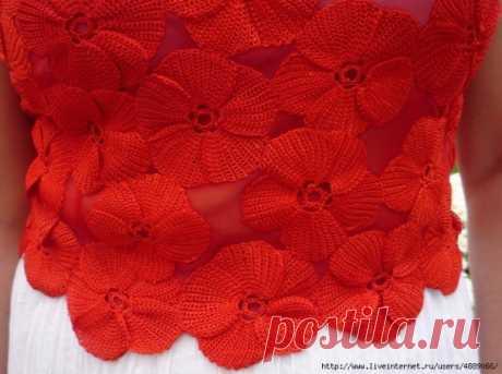 Вяжем красный цветок, а применить его можно по-разному! из категории Интересные идеи – Вязаные идеи, идеи для вязания