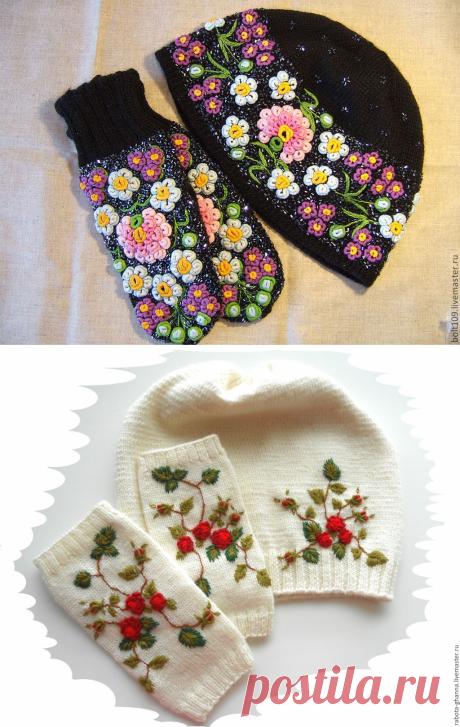 Вязаные комплекты из шапок и перчаток с вышивкой: великолепные идеи — Сделай сам, идеи для творчества - DIY Ideas