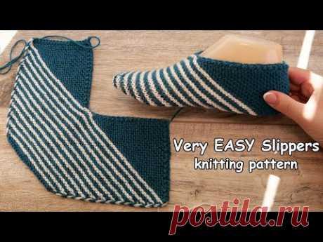 Супер ПРОСТО - Следки «Полосатики» спицами 🦓 Very EASY Slippers knitting pattern, Video tutorial 🧵