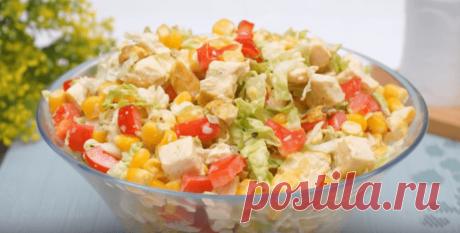 Салат с пекинской капустой и кукурузой - рецепт с фото пошагово