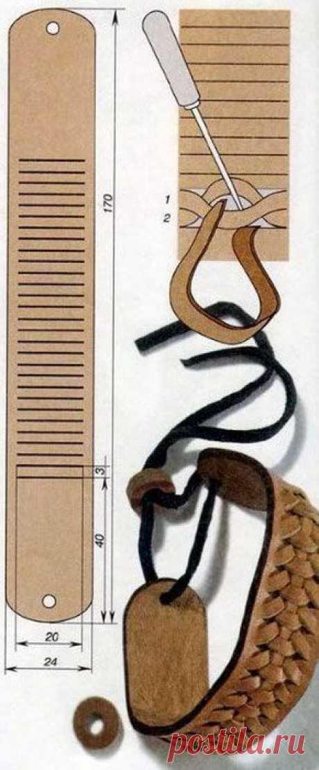 Кожаный браслет своими руками (схема плетения)