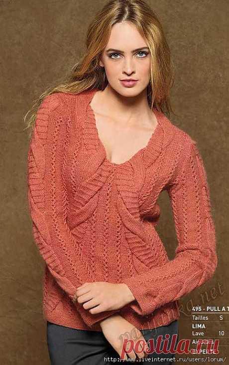 Интересный пуловер с косами.