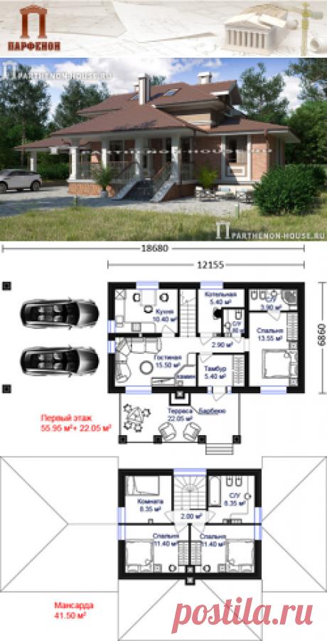 Проект небольшого двухэтажного дома с навесом для авто (12.55х6.86 м) ДС 100-7  Площадь общая: 100,70 кв.м. Высота 1 этажа: 3,000 м. Высота 2 этажа: 3,000 м. Габаритные размеры дома: 12,155 х 6,860 м. (без террасы и навеса) Минимальные размеры участка: 19,00 x 13,00 м.  Технология и конструкция: строительство дома из поризованной керамики