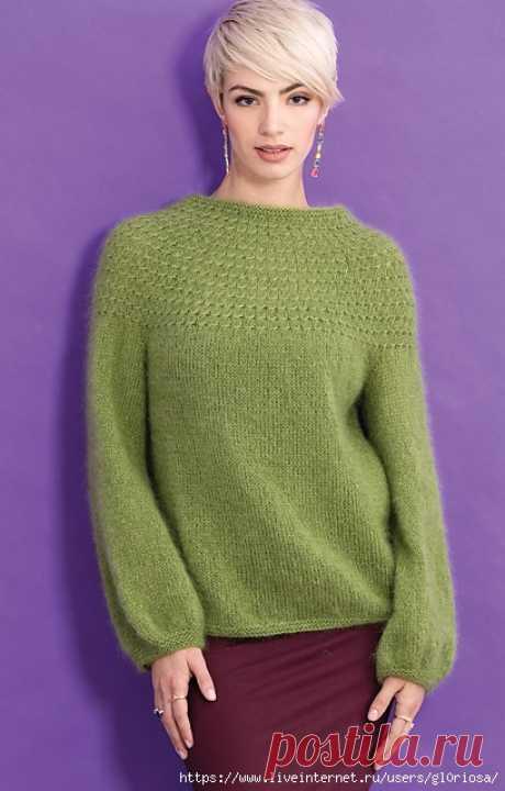 Пуловер с круглой кокеткой Yoke Pattern by Yoko Hatta