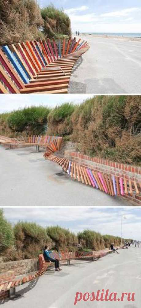 Snow fence bench! This stuff is so hard to put up on the…
