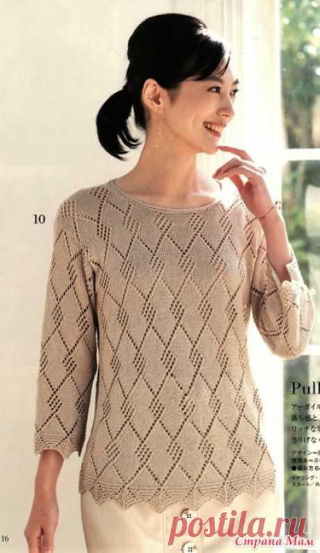 Джемпер с ажурными ромбами. Спицы. Let's Knit Series NV80638 2020