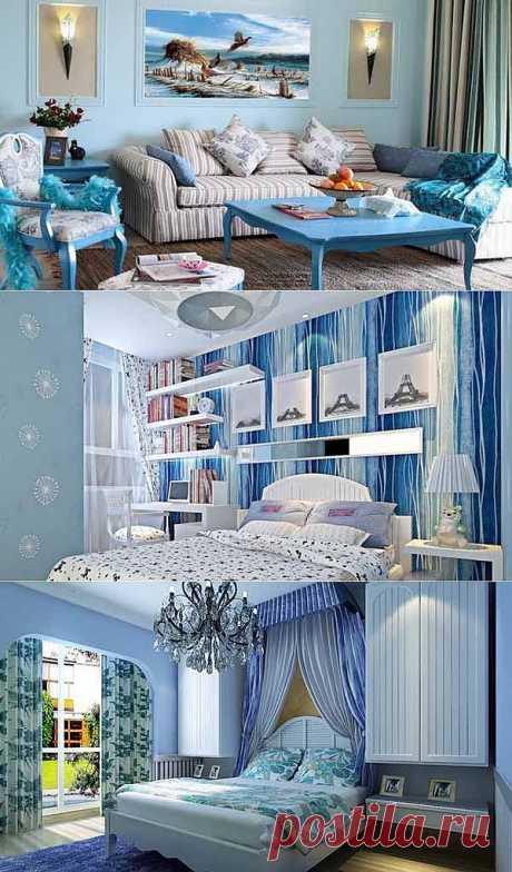 Интерьер комнаты: свежесть голубого цвета