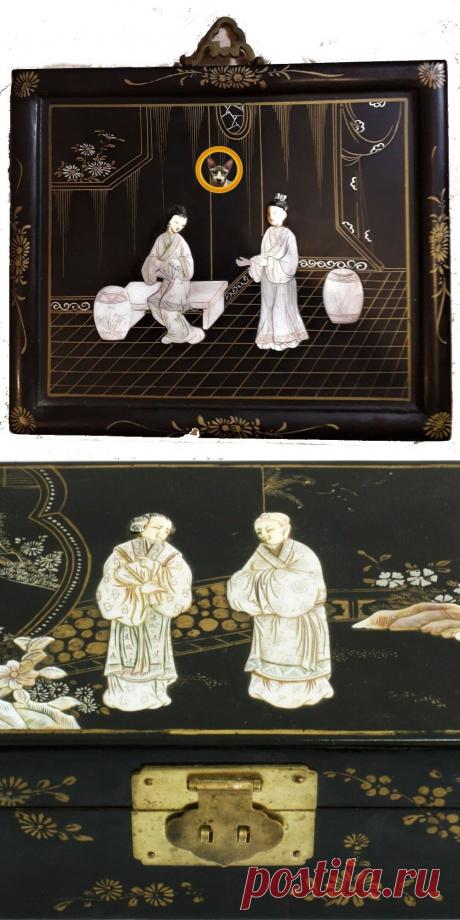 В наследство от тетушки мне достались китайские сувениры – шкатулка и панно 50-х годов | Истории людей, вещей и мест | Яндекс Дзен