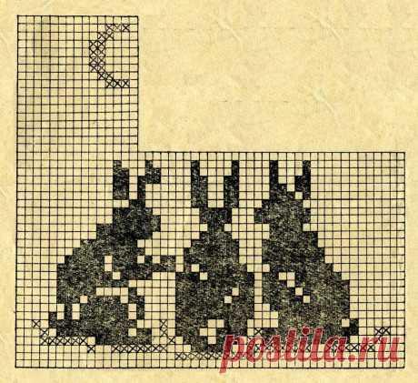 Зайцы вышивка крестом