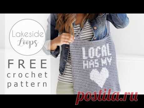 'Local Has My Heart' Market Bag FREE Crochet Pattern Video Tutorial