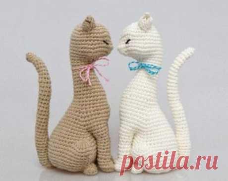 Влюбленные котики #крючок #вязаная_игрушка