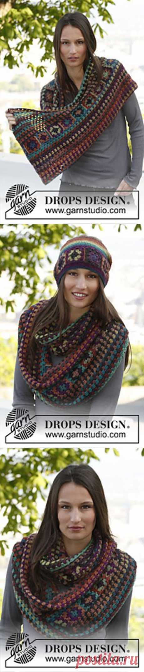 Разноцветный шарф крючком..