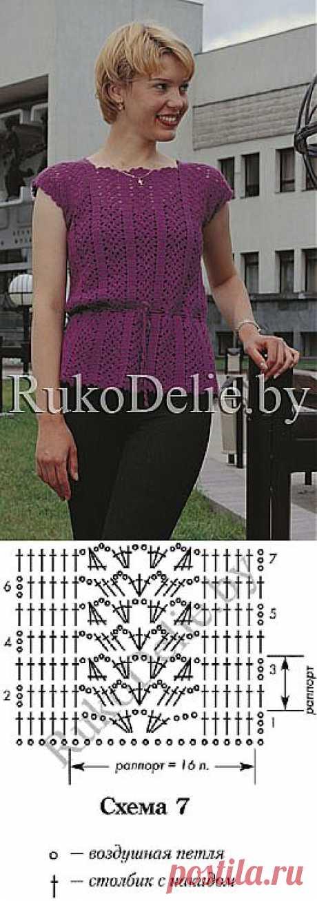 Летняя кофточка без рукавов, вязаная крючком :: Летние вещи :: Женская одежда :: Вязание крючком/Women's crocheted summer clothes :: RukoDelie.by