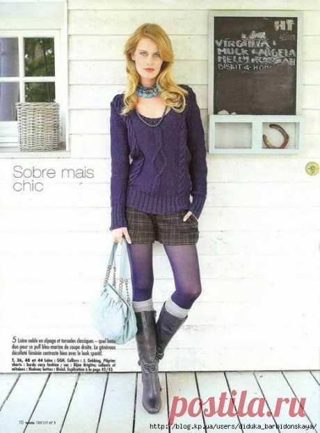 Пуловер синего цвета (Burda Tricot, Hiver 2007).