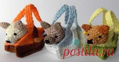 Собачки в сумке Вязаная собачка в сумке -  игрушка амигуруми. Схема вязания малюток  крючком.