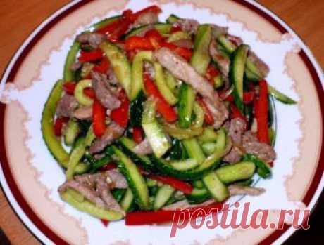 Корейский огуречно-мясной салат   Четыре вкуса