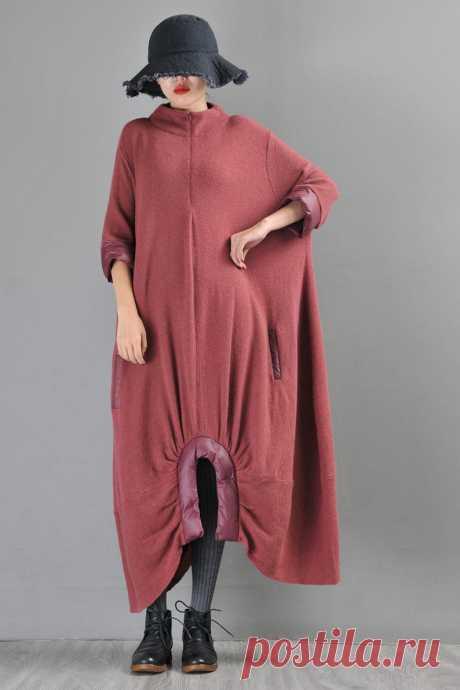 Brick Red Alpaca Chinese Style Long Dress-Irregular Woman | Etsy