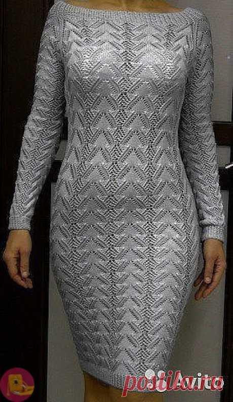 Превосходная идея использования красивого узора для платья Зачем сочетать много узоров, если изумительную красоту можно связать, используя один единственный узор?