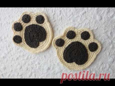 Подставка под чашку ч-1 Crochet paw coaster р-1 - YouTube