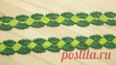 Вязание крючком ленточного кружева Crochet Lace Braid Ribbon Tape Tutorial