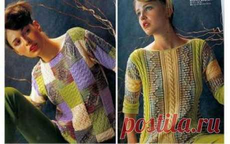 Два позитивных пуловера Две модели позитивных женских пуловеров выполненных спицам. Схемы, выкройки Преимущество этих изделий в том, что их можно связать из остатков пряжи, а главное достоинство — горизонтальные пол…
