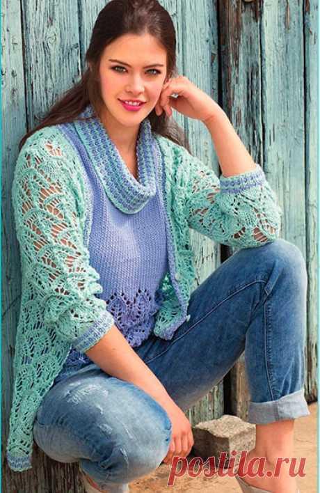 Ажурный жакет и пуловер- спицами