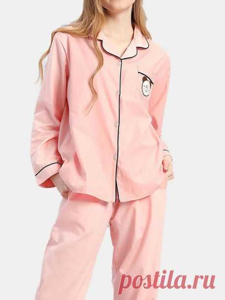 Plus Size Women 100% Cotton Cartoon Applique Lapel Long Pajamas Sets With Contra - US$27.99