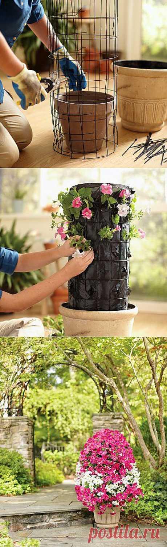 Como crear la torre vertical de flores por las manos.