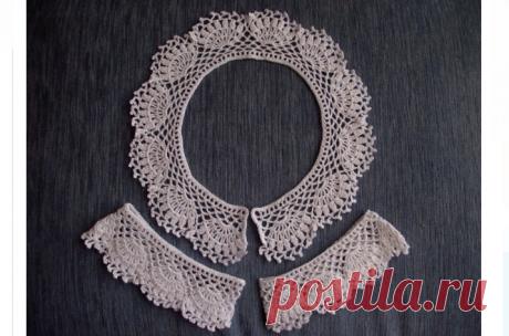 Красивые воротнички крючком своими руками — простые, для платья, с манжетами, кружевные, ажурные