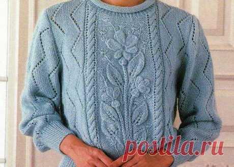 Голубой пуловер с цветами ~ Свое рукоделие