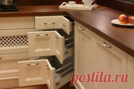 Угловой кухонный шкаф, особенности моделей и правила размещения