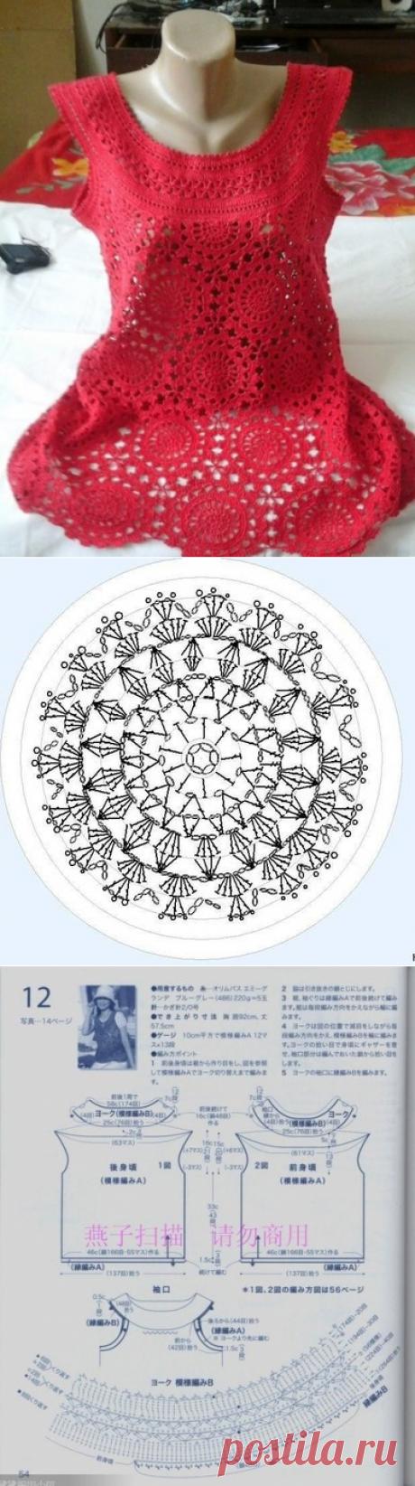 Красивая туника из мотивов . Красивая туника крючком | Лаборатория домашнего хозяйства