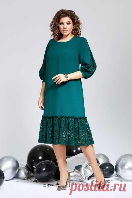 Платье 844 MILORA зеленое купить в интернет магазине