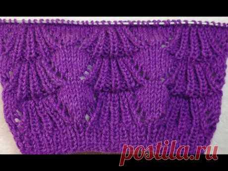 №154 Объемный узор спицами ВЕЕРОЧКИ  Для теплых вещей кардигана или свитера