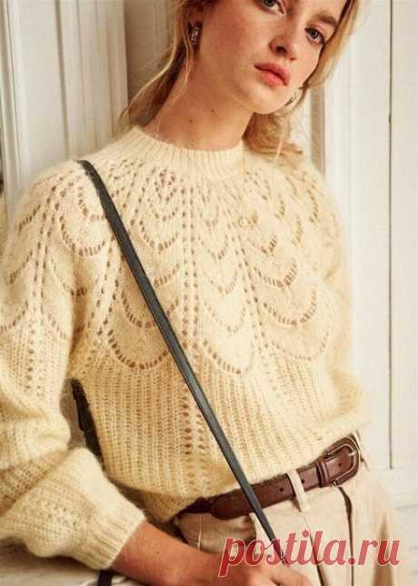 #вязаный_пуловер@modnoe.vyazanie Свитер ажурным регланом. Схема узора.