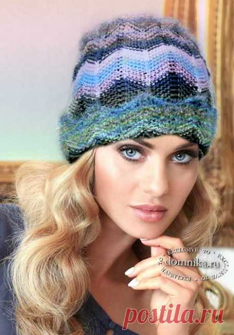 Женская вязаная шапка спицами - простая шапка связанная на спицах