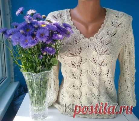 Пуловер с V-образным вырезом. | Клубок