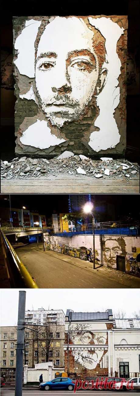 Портреты высеченные на стенах / Городская среда (граффити, снеговики, ets) / Модный сайт о стильной переделке одежды и интерьера