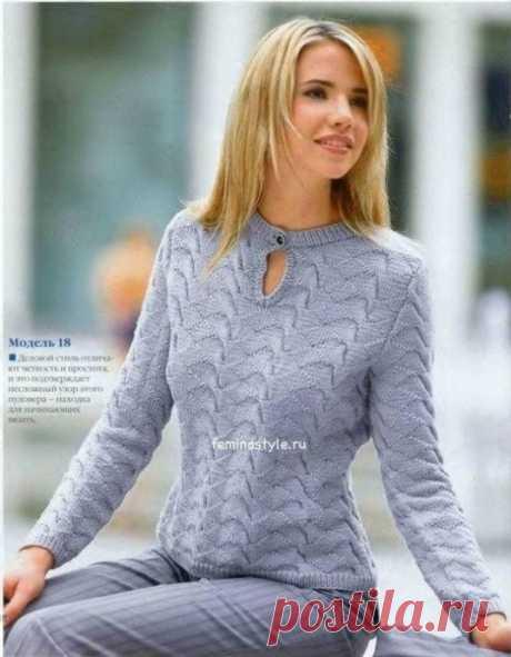 Интересный вариант пуловера спицами