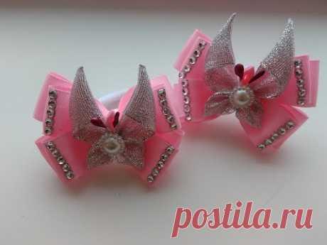Tierno bantiki con las mariposas de las cintas de Kanzashi MK \/ Delicate ribbon with butterfly ribbon Kanzashi MK