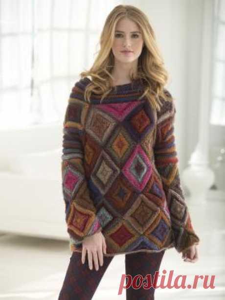 Пуловер Джевел бокс Оригинальный женский пуловер, связанный из разноцветной пряжи по типу Vita harmony на спицах 5.5 мм. Пуловер состоит из квадратных и...
