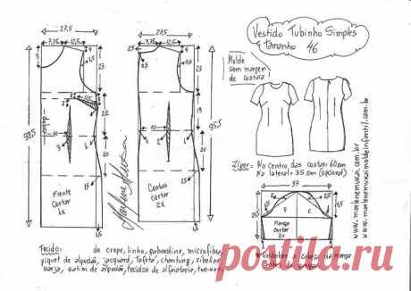 Платье с коротким рукавом.Размер 36-56(евро) выкройки