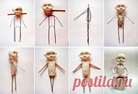 Мастер-класс по созданию куклы. Часть 2: Каркас, тело  Подробно: https://www.livemaster.ru/topic/280079  * * * Часть 1 (лепка головы): https://www.livemaster.ru/topic/279955