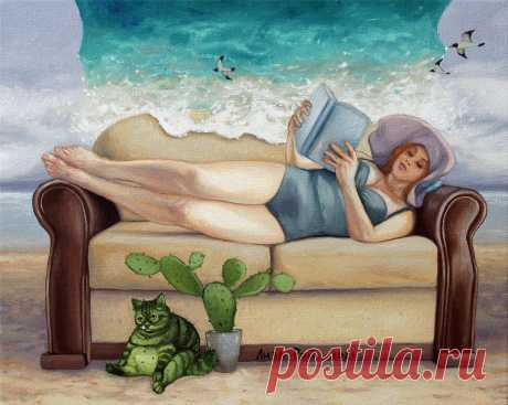 Лиза Рэй –  Мой отпуск. Lisa Ray - My vacation. 50Х40, 2021 год canvas, oil  - холст, масло  #сюрреализм #ЛизаРэй #отпуск #диван #карантин #кот #кактус #искусство #море #женщинанаморе #мечтыоморе #картины #живопись #арт #современныехудожники #surreal #surrealism #LisaRay #vacation #sofa #quarantine #cat #cactus #art #sea #womanamore #dreamsmore #paintings #painting #modernartists