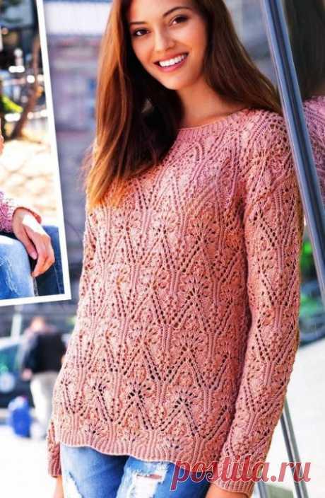 Пуловер с красивым ажурным узором — HandMade