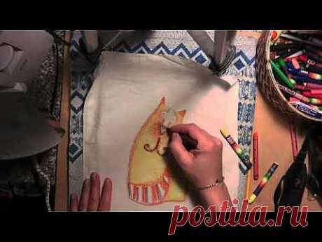 Рисуем восковыми мелками на ткани. Кот. - YouTube