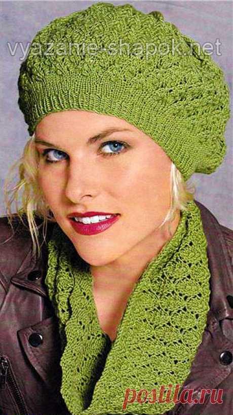 Осенний комплект: ажурный берет и шарф спицами
