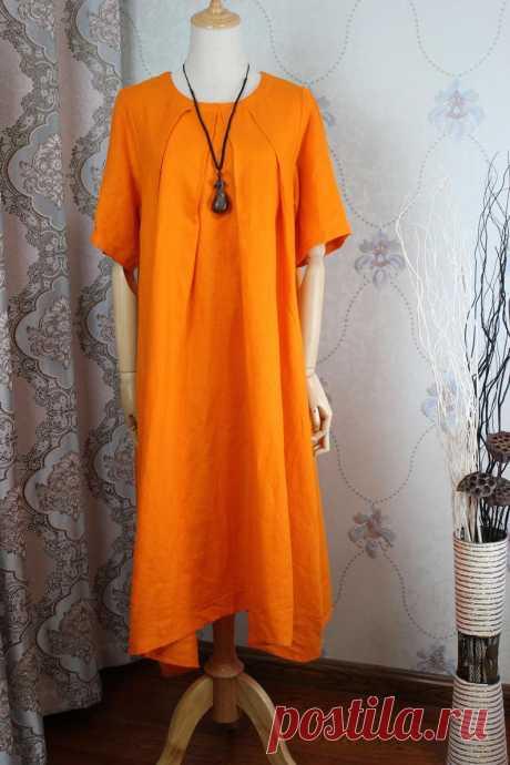 Orange maxi linen dress women summer linen dress long Cotton   Etsy