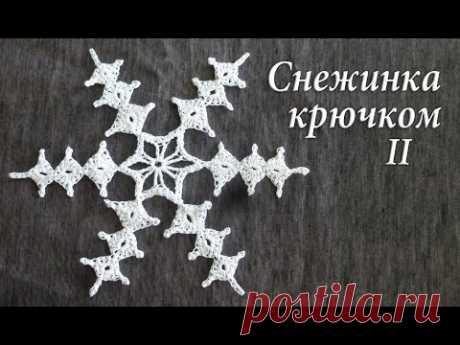 Снежный кристалик крючком Часть II | Снежинка декоративная
